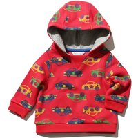 Baby boy long sleeve hooded cotton rich transport car print casual hoodie  - Red