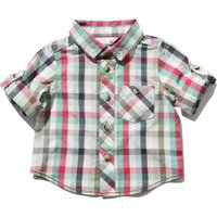 Baby boy 100% cotton long turn up sleeve raspberry and green check pattern button down shirt  - Rasp