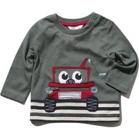 Baby boy cotton long sleeve crew neck dark green stripe digger applique zip front t-shirt G - Green