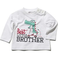 Baby boy cotton rich long sleeve white crew neck best little brother slogan dinosaur print t-shirt