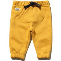 Baby boy cotton rich elasticated waistband cuffed ankle front pocket casual joggers  - Mustard