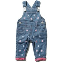 Baby girl 100% cotton blue button fastening strap daisy applique pink turn up hem dungarees  - Denim