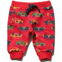 Baby boy cotton rich red stretch waist cuffed ankle pockets racing car print joggers  - Red
