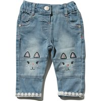 Baby girl cotton rich light wash cat embroidery knee patch crochet lace trim stretch waistband jeans