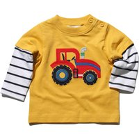 Baby boy cotton rich yellow long sleeve mock layer striped tractor applique crew neck t-shirt  - Mus