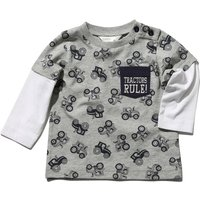 Baby boy cotton rich grey marl long mock layer sleeve tractor print pocket front t-shirt  - Grey