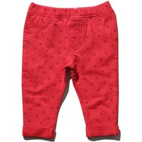 Baby girl cotton stretch red heart print elasticated waistband turn up jeggings  - Red