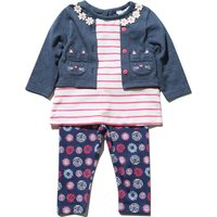 Baby girl cotton rich long sleeve mock cardigan t-shirt and floral print leggings set  - Denim