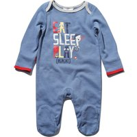 Newborn boy 100% cotton blue long sleeve eat sleep repeat slogan print sleepsuit with feet  - Blue