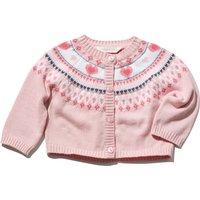 Dashing and Dainty baby girl 100% cotton pink long sleeve heart button front knitted cardigan  - Pink