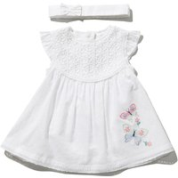 Baby girl 100% cotton short sleeve butterfly broderie anglaise dress and headband set  - White