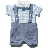Newborn boy cotton blue chambray bibshort and stripe polo shirt bodysuit set  - Blue