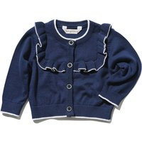 Dashing and Dainty baby girl 100% cotton navy long sleeve ruffle front button cardigan  - Navy