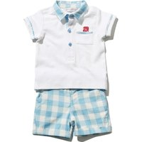 Dashing and Dainty baby boy 100% cotton white polo shirt and blue checked shorts summer set  - Blue