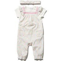 Newborn girl short sleeve top and floral print ruffle strap cuffed ankles dungarees set  - White