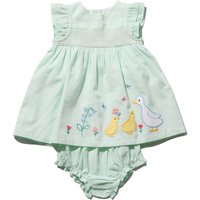 Newborn girl 100% cotton frill cap sleeve green stripe duck applique smock dress and knickers set G