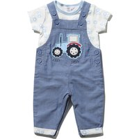 Baby Boy Blue Chambray Tractor Applique Dungarees And Short Sleeve Print T-shirt Set - Blue