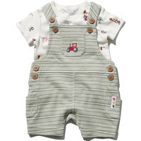 Newborn boy short sleeve tractor print t-shirt and green striped bibshort set  - Khaki