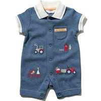 Newborn boy 100% cotton blue chambray short sleeve tractor embroidery polo shirt romper  - Chambray