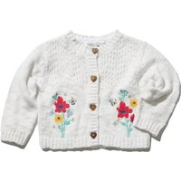 Baby girl 100% cotton white long sleeve button front embroidered floral knitted cardigan  - White