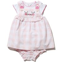 Newborn girl 100% cotton pink gingham mouse embroidery pinny dress top and knickers set  - Pink