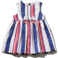 Baby girl cotton sleeveless pink blue white stripe pattern bow from prom dress  - Multicolour