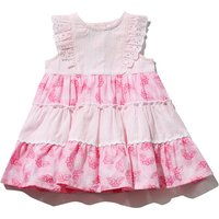 Baby girl 100% cotton sleeveless broderie anglaise trim butterfly print tiered dress  - Pink