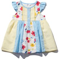 Baby girl 100% cotton short frill cap sleeve multi-colour floral print patchwork panel skater dress