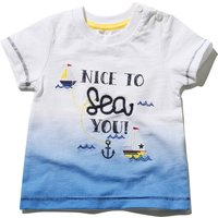 Baby Boys Ombre Fade Nice To Sea You Slogan Sailboat And Anchor Print Short Sleeve T-shirt - White