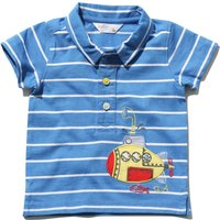 Baby boy 100% cotton short sleeve stripe submarine applique polo shirt  - Blue