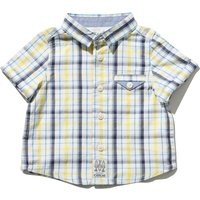 Baby boy 100% cotton short sleeve yellow blue check pattern button front chest pocket shirt  - Yello