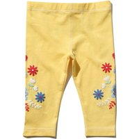 Baby girl cotton stretch yellow elasticated waist floral puff print full length leggings  - Yellow