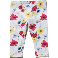 Baby girl cotton white stretch waist multi-coloured floral print full length leggings  - White