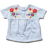 Baby girl 100% cotton short sleeve blue and white stripe floral puff print smock t-shirt  - Blue