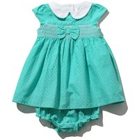 Baby girl cotton short sleeve teal spot print bow front smock dress and matching knickers set  - Tea