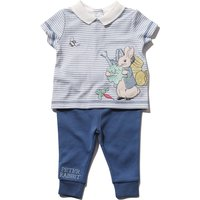 Peter Rabbit newborn boy stripe short sleeve collared applique top and cuffed joggers set  - Navy