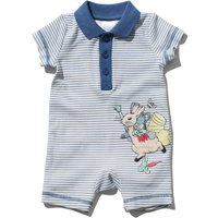 Peter Rabbit newborn boy 100% cotton short sleeve blue striped polo collar applique romper  - Blue