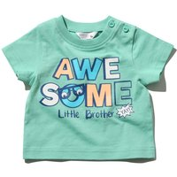 Baby boy cotton green short sleeve crew neck awesome little brother slogan print t-shirt G - Green