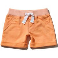 Baby boy 100% cotton navy rib stripe stretch waistband pocket plain shorts  - Tangerine