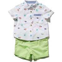 Baby boy 100% cotton short sleeve sea critter print short & lime green chino shorts set  - White