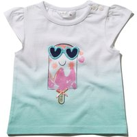 Baby girl cotton white green ombre fade print ice cream bow applique short cap sleeve t-shirt G - Gr