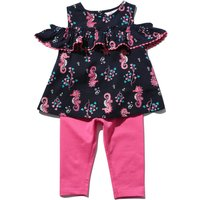 Baby Girl Navy Seahorse Print Frill Cold Shoulder Top & Pink Full Length Leggings Outfit Set - Navy