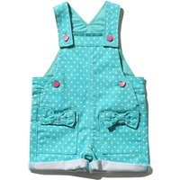 Baby girl green polka dot print bow applique pocket button fastening turn up bibshort dungarees G -