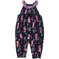 Baby Girl Navy Sleeveless Halter Neck Seahorse Print Cuffed Ankle Button Back Relaxed Fit Jumpsuit - Navy
