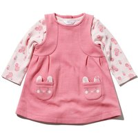 Newborn baby girl pink ribbed pinny dress with cat pockets and floral print bodysuit set  - Pink
