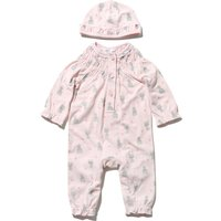 Newborn baby girl cotton pink long sleeve cat print button front frill trim sleepsuit and hat set  -