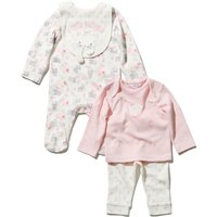 Newborn baby girl cotton pink cat print long sleeve footed sleepsuit top cuffed joggers & bib set  -