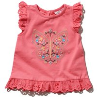 Baby girl pink Pink cotton broderie anglaise frill trim short sleeve embroidered butterfly t-shirt