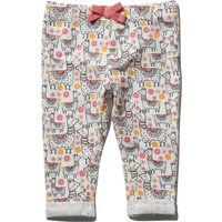 Baby girl 100% cotton llama print pink bow stretch waistband turn up jeggings  - Cream