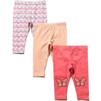 Baby girl stretch waist pink peach heart spot butterfly print full length leggings three pack  - Mul